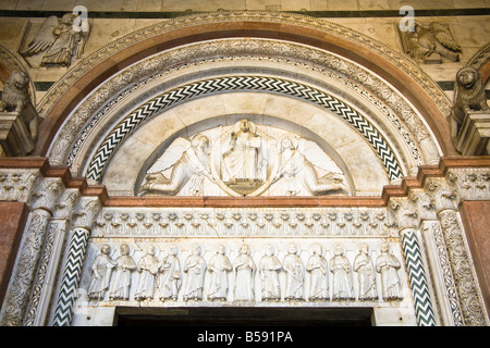 Detail above door and entrance, San Martino Cathedral, Piazza San Martino, Lucca, Tuscany, Italy - Stock Photo