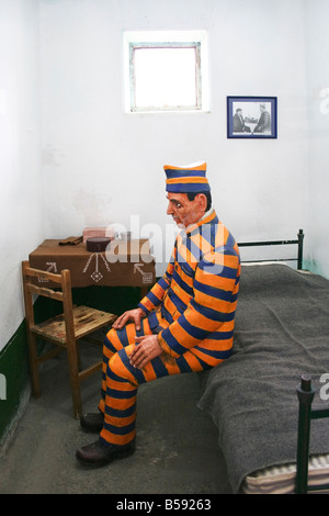 Ushuaia used to be a penal colony The prison houses now a museum in Argentina man in cell - Stock Photo