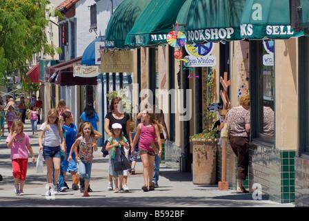 Group of young girls at Main Street Ventura California USA - Stock Photo