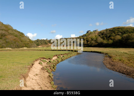 Pennard Castle behind Three Cliffs Bay on the Gower - Stock Photo
