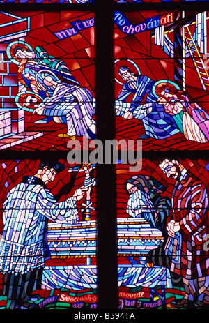 Modern stained glass, St. Vitus cathedral, Prague, Czech Republic, Europe - Stock Photo