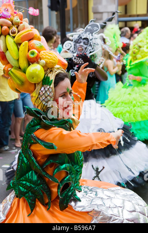 A group of Carnival performers in fancy dress in Central London - Stock Photo