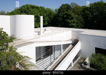 Poissy bei Paris,  Villa Savoye (Villa les Heures Claires) 1928-1931, Dachlandschaft und Terrasse - Stock Photo
