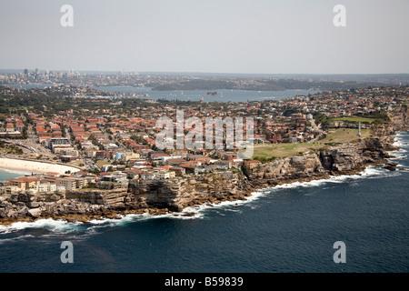 Aerial view north west of suburban houses Ben Buckler Bondi Sydney NSW Australia High level oblique - Stock Photo