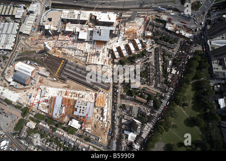 Aerial view north east of Westfield White City Construction Site West Cross Route Shepherds Bush Common London W12 - Stock Photo