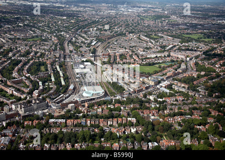 Aerial view west of Finchley Road Frognal Rail and Tube Stations shops suburban houses Hampstead Cricket Club London - Stock Photo