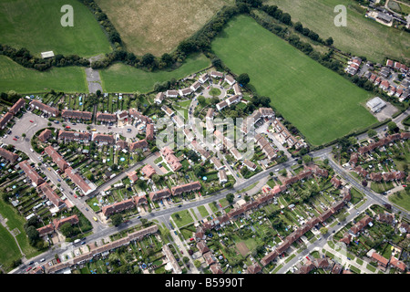 Aerial view north west of suburban housing development country fields Oakleigh Park Barnet Greater London N20 England - Stock Photo