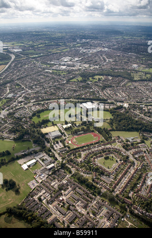 Aerial view south west of Woodside Arena Sports and Leisure Centre playing fields Kingsway North Orbital Road suburban - Stock Photo