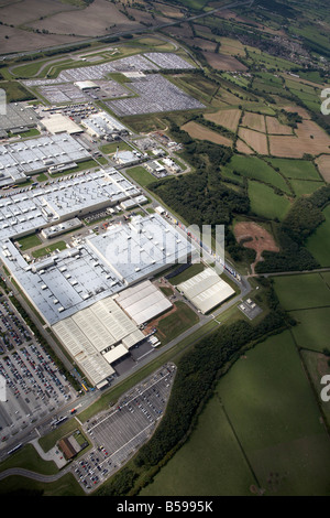 Aerial view west of the Toyota Manufacturing UK Site country fields Burnaston Derbyshire DE1 England UK High level - Stock Photo