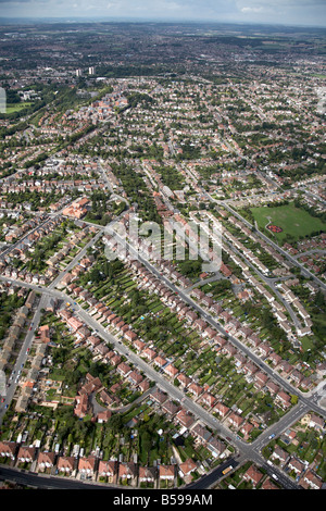 Aerial view north of suburban houses and gardens Prospect Road Foxhill Road West Nottingham NG4 England UK High - Stock Photo