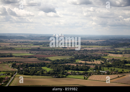 Aerial view south west of country fields suburban houses Bradmore Gotham Ratcliffe on Soar Power Station in distance - Stock Photo