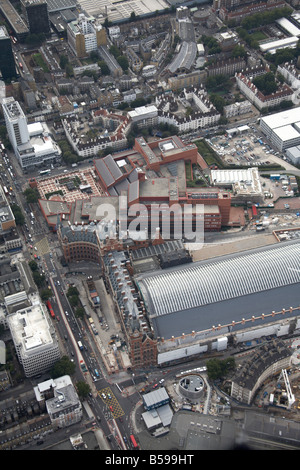 Aerial view west of St Pancras Railway Station construction work The British Museum Euston Road inner city buildings - Stock Photo