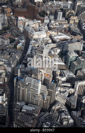 Aerial view south east of The Lloyds Building tower blocks construction work Leadenhall Street Aldgate The City - Stock Photo