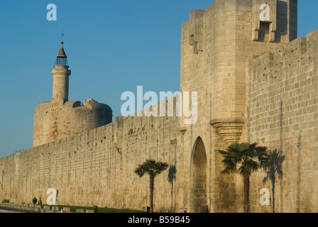 Walls dating from 13th century, Aigues-Mortes, Languedoc, France, Europe - Stock Photo