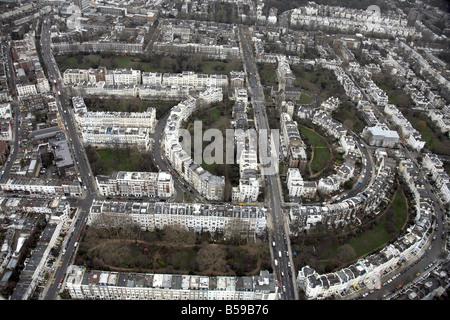 Aerial view Ladbroke Grove Stanley Crescent Lansdowne Crescent Kensington Park Rd suburban houses Notting Hill London - Stock Photo