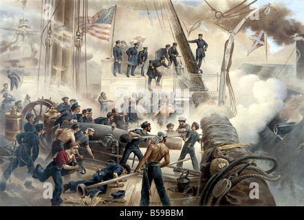 Naval Battle between the Union and Confederates - Stock Photo