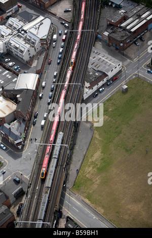 Aerial view south west of Curzon Railway Viaduct railway line trains New Canal Street Fazeley Street Birmingham - Stock Photo