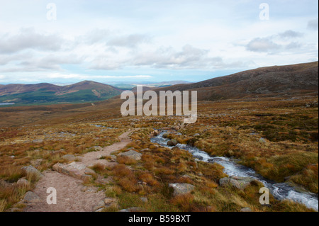 The path to Ben Macdui from Glenmore Forest Car Park Scotland UK - Stock Photo