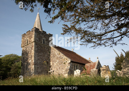 The Parish Church of St Peter and St Paul on a summer evening in Mottistone village Isle of Wight England UK - Stock Photo