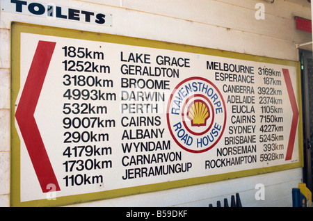Shell station distance list showing country distances Ravensthorpe Western Australia Australia Pacific - Stock Photo