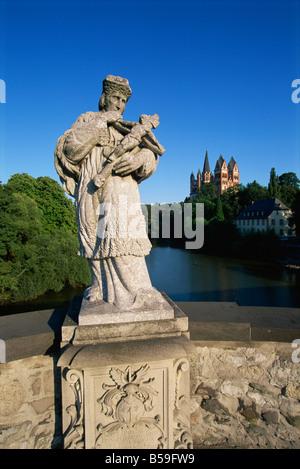 Old Lahnbridge and Cathedral, Limburg, Hesse, Germany, Europe - Stock Photo
