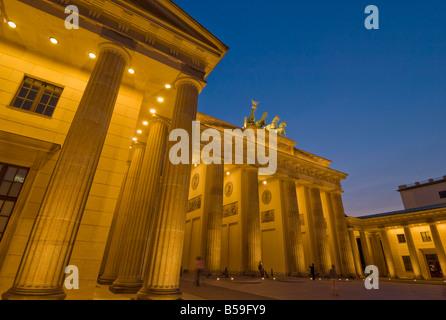 The Brandenburg Gate with the Quadriga winged victory statue on top, Pariser Platz, Berlin, Germany, Europe - Stock Photo