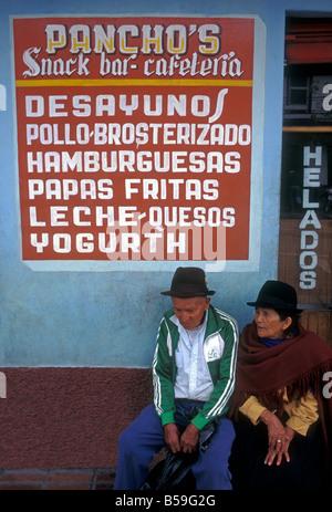 Ecuadoran people, old man, old woman, seniors. husband and wife, couple, Pancho's restaurant, Banos, Tungurahua - Stock Photo
