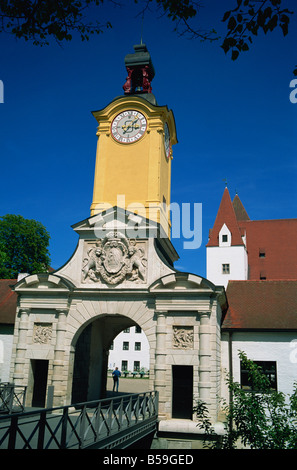 Entrance to the Schloss castle Ingolstadt on the Danube Bavaria Germany Europe - Stock Photo