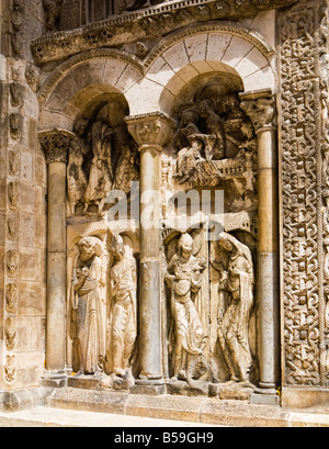 Relief sculptures at the entrance to the Abbaye Saint Pierre de Moissac, in Moissac, Tarn et Garonne, France Europe - Stock Photo