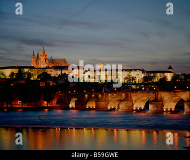Prazsky Hrad, Prague castle and StVitus's cathedral, The Charles Bridge, Czech republic - Stock Photo