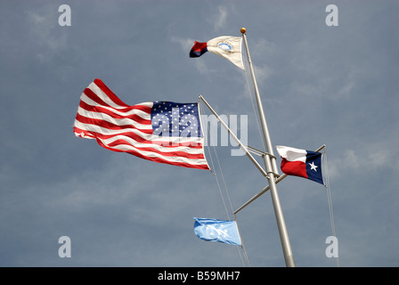 USA and Texas state flags in Corpus Christi, TX USA - Stock Photo