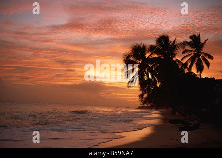Sunset over Worthing Beach, Christ Church, Barbados, West Indies, Caribbean, Central America - Stock Photo