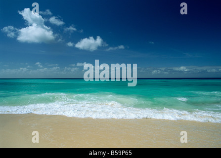 Sea and sand at Worthing Beach on the popular south coast of the southern parish of Christ Church, Barbados, Caribbean - Stock Photo