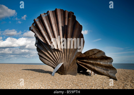 The Scallop sculpture By Maggie Hambling, Aldeburgh Beach. Suffolk  UK - Stock Photo