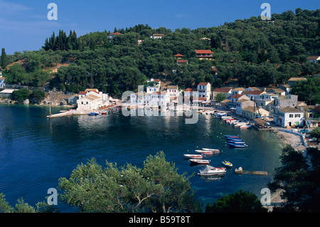 Aerial view over Loggos harbour Paxos Ionian Islands Greece J Bayne - Stock Photo