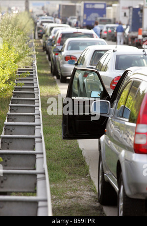 Traffic jam on the highway A2, Magdeburg, Germany - Stock Photo