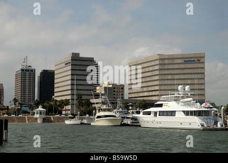 Marina and American Bank Center in Corpus Christi, Texas USA - Stock Photo