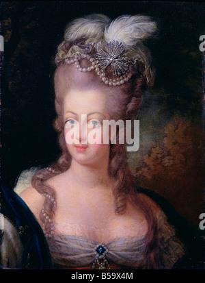 Oil Portrait of Marie Antoinette de Habsbourg Lorraine 1750 - Stock Photo