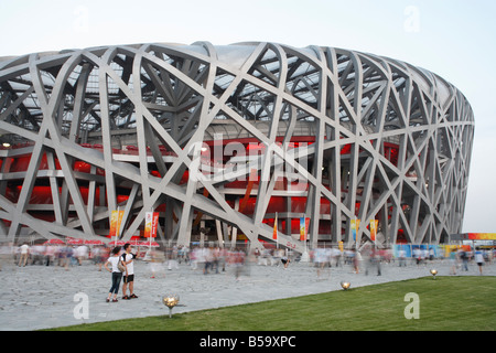 The 'Bird's Nest' National Olympic Stadium in Beijing prior to an evening dress rehearsal for the Olympic Games - Stock Photo