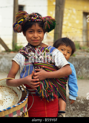 Local hill child and baby brother, Nebal area, Guatemala, Central America - Stock Photo