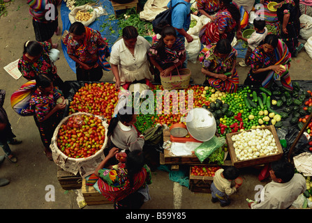 Mayan Indian vegetable market, Chichicastenango, Quiche Highlands, Guatemala, Central America - Stock Photo