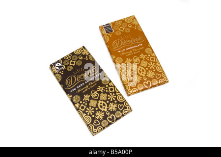 Fairtrade chocolate bars isolated on a white studio background - Stock Photo