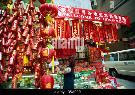 Chinese New Year decorations on sale in Central, Hong Kong Island, Hong Kong, China - Stock Photo
