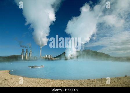 Geo-thermal power plant in the Svartsengi Area, Svartsengi, Iceland - Stock Photo