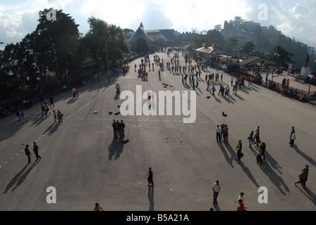 View of People on the Ridge , A Hill Station Simla in Himachal Pradesh India - Stock Photo