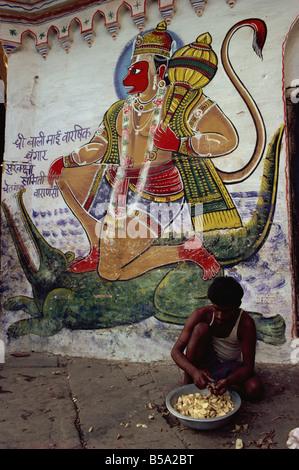 Mural of Hanuman the Monkey God Varanasi Uttar Pradesh state India Asia - Stock Photo
