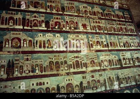 Murals in Tipu Sultan s palace Seringapatam Mysore Karnataka state India Asia - Stock Photo