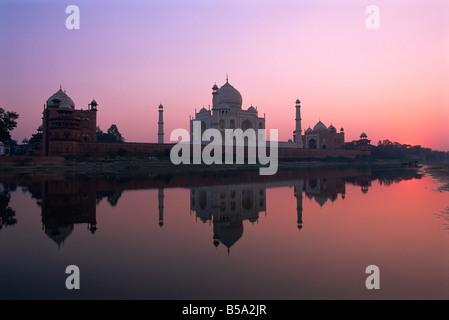 Taj Mahal at sunset UNESCO World Heritage Site Agra Uttar Pradesh state India Asia - Stock Photo