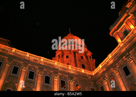Royal Palace lit up at night, Budapest, Hungary - Stock Photo