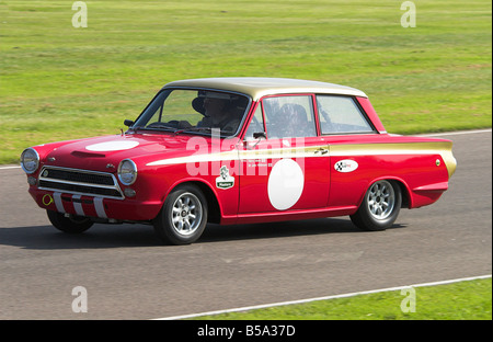 1965 Ford Lotus Cortina Mk1 in the Racing at Goodwood Revival - Stock Photo